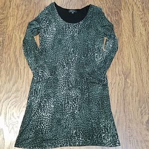 Karen Kane leopard print lined midi dress large